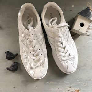 Tretorn White Silver Perforated Leather Sneakers
